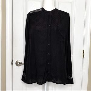 Free People Women's Top Blouse Boho Black Lace